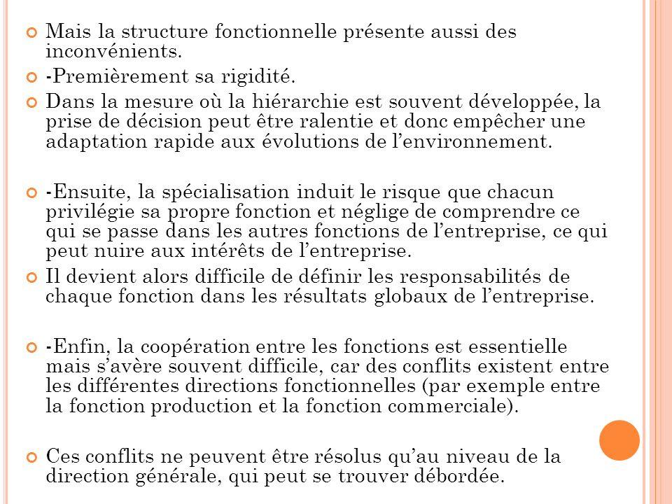 Mais la structure fonctionnelle présente aussi des inconvénients. -Premièrement sa rigidité. Dans la mesure où la hiérarchie est souvent développée, l