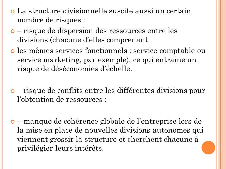La structure divisionnelle suscite aussi un certain nombre de risques : – risque de dispersion des ressources entre les divisions (chacune delles comp