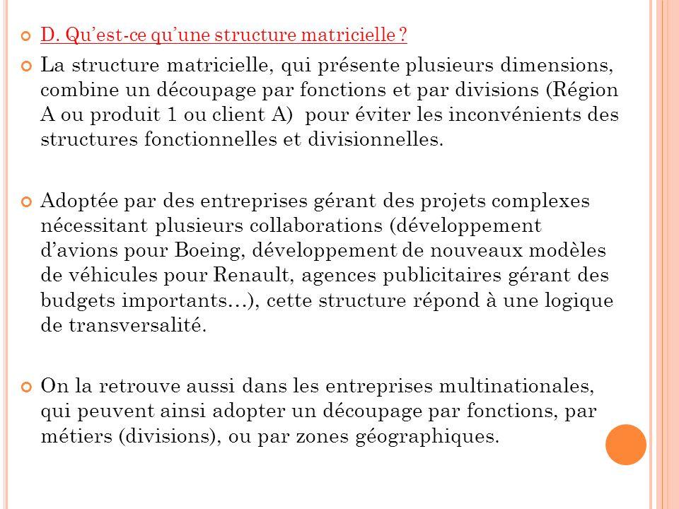 D. Quest-ce quune structure matricielle ? La structure matricielle, qui présente plusieurs dimensions, combine un découpage par fonctions et par divis