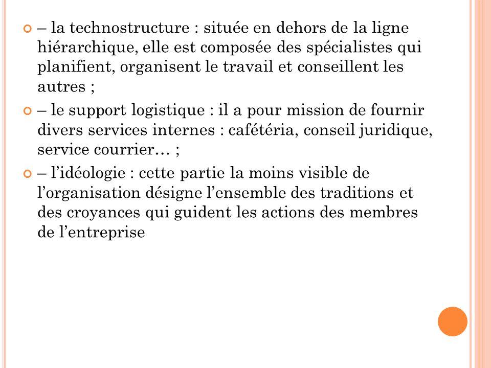 – la technostructure : située en dehors de la ligne hiérarchique, elle est composée des spécialistes qui planifient, organisent le travail et conseill