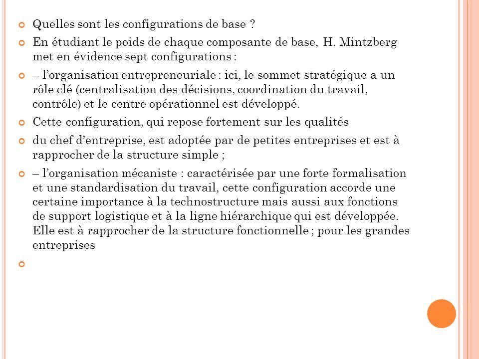 Quelles sont les configurations de base ? En étudiant le poids de chaque composante de base, H. Mintzberg met en évidence sept configurations : – lorg