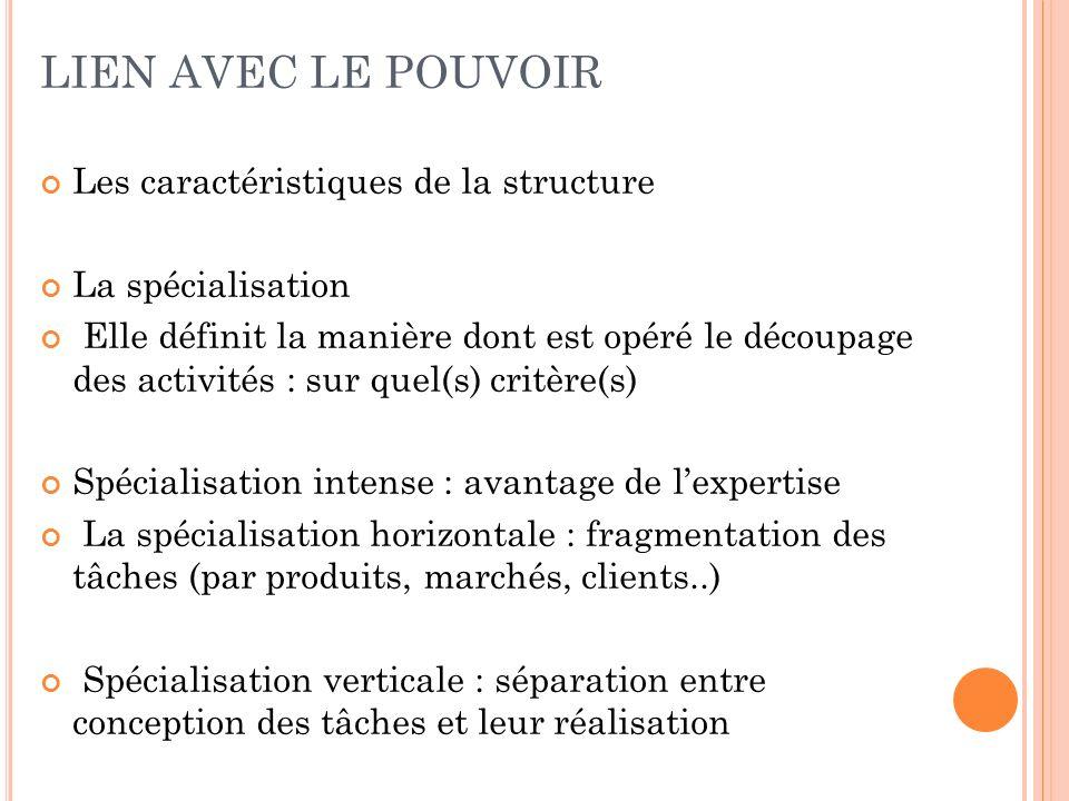LIEN AVEC LE POUVOIR Les caractéristiques de la structure La spécialisation Elle définit la manière dont est opéré le découpage des activités : sur qu