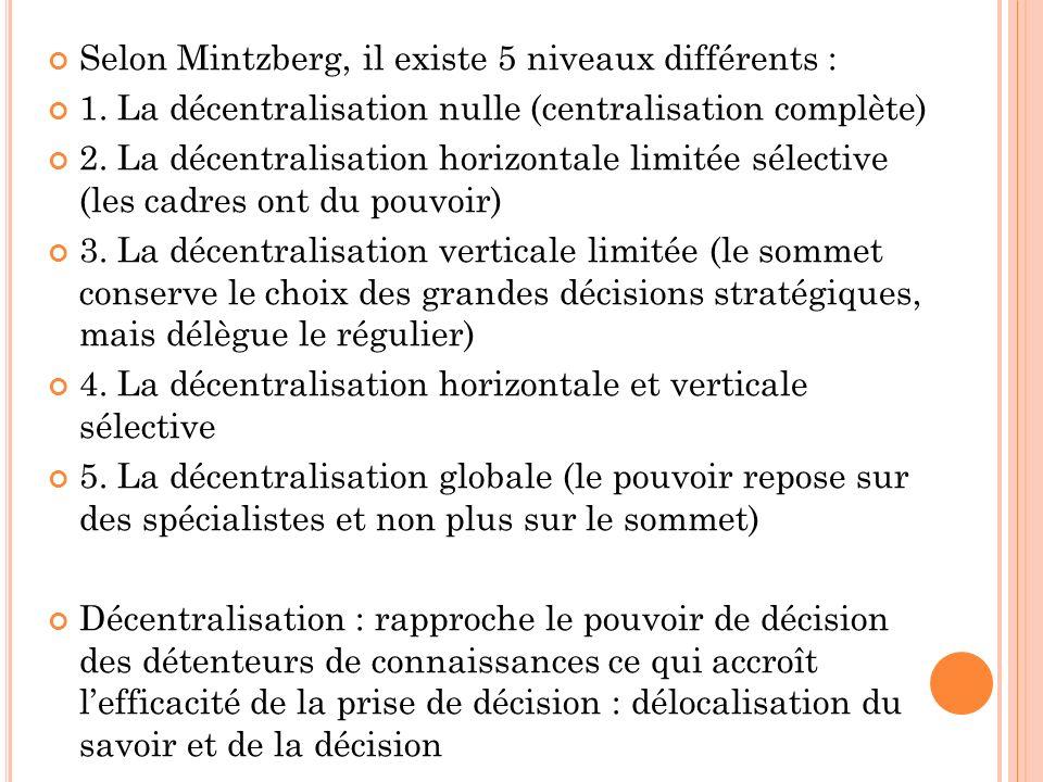 Selon Mintzberg, il existe 5 niveaux différents : 1. La décentralisation nulle (centralisation complète) 2. La décentralisation horizontale limitée sé