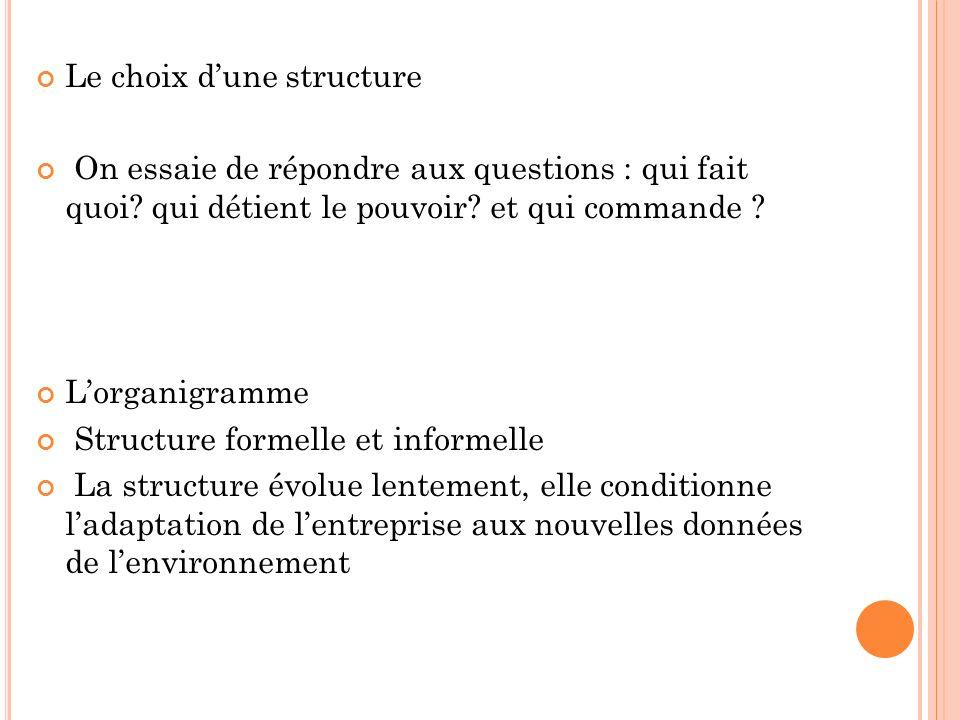 Le choix dune structure On essaie de répondre aux questions : qui fait quoi? qui détient le pouvoir? et qui commande ? Lorganigramme Structure formell