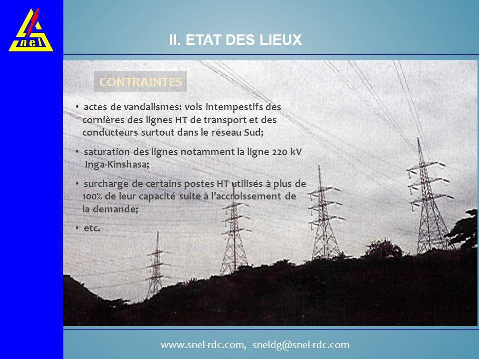 www.snel-rdc.com, sneldg@snel-rdc.com CONTRAINTES II. ETAT DES LIEUX actes de vandalismes: vols intempestifs des cornières des lignes HT de transport