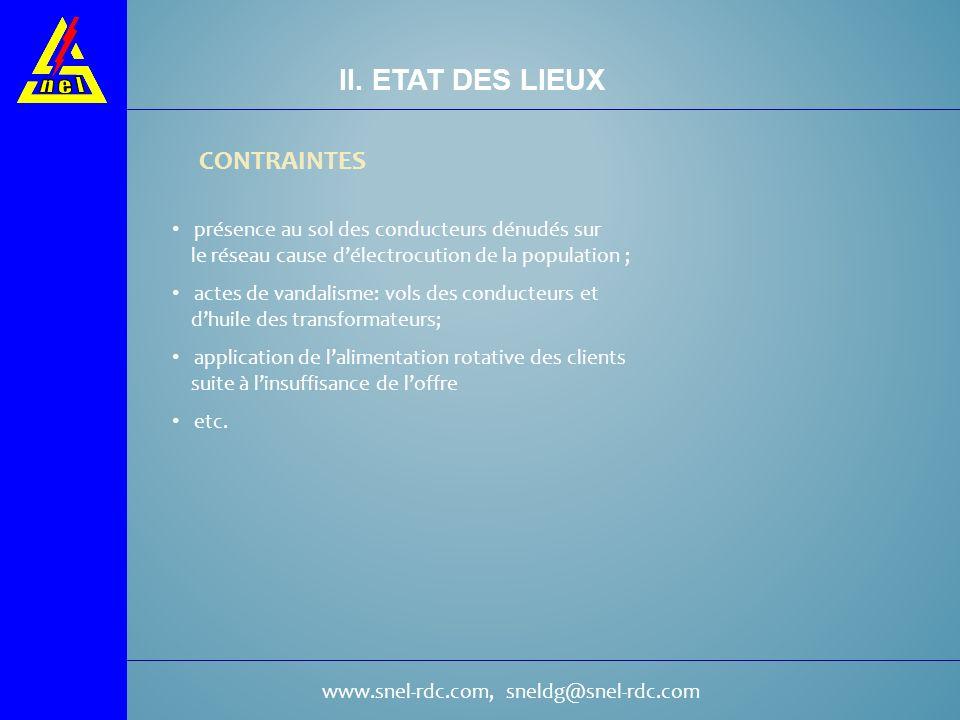 www.snel-rdc.com, sneldg@snel-rdc.com CONTRAINTES II. ETAT DES LIEUX présence au sol des conducteurs dénudés sur le réseau cause délectrocution de la
