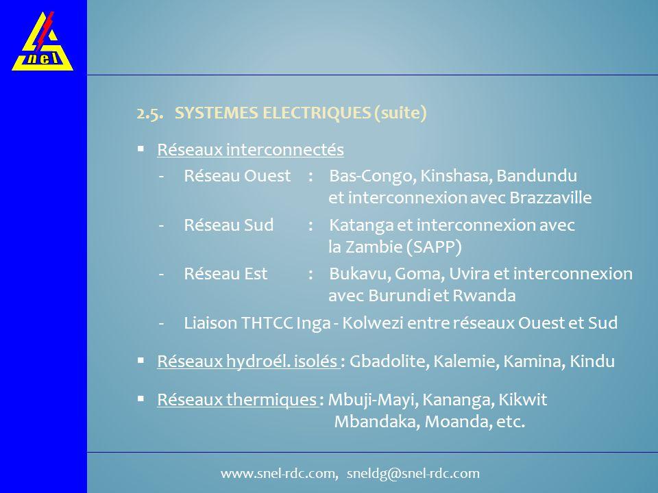 www.snel-rdc.com, sneldg@snel-rdc.com 2.5. SYSTEMES ELECTRIQUES (suite) Réseaux interconnectés Réseaux hydroél. isolés : Gbadolite, Kalemie, Kamina, K