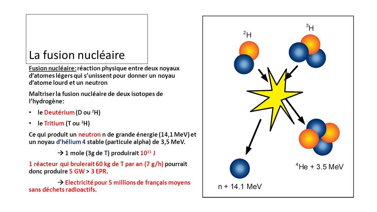 La fusion nucléaire Fusion nucléaire: réaction physique entre deux noyaux datomes légers qui sunissent pour donner un noyau datome lourd et un neutron