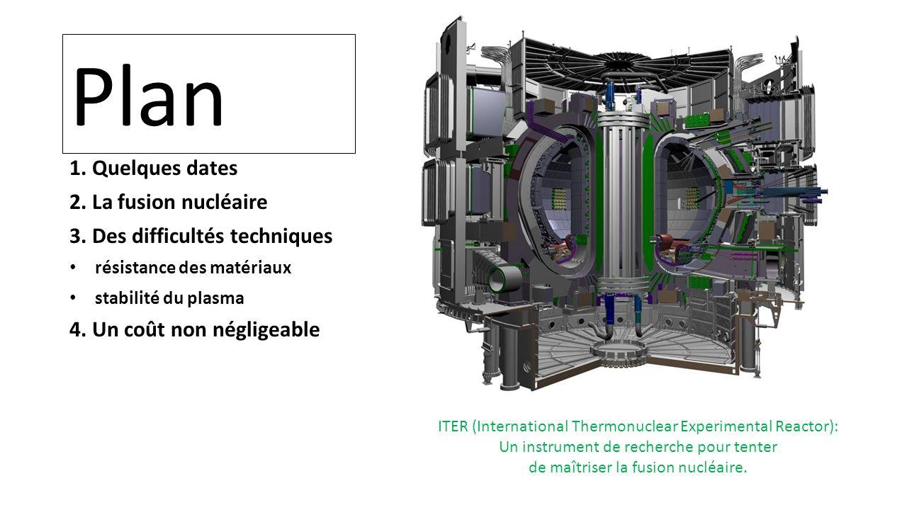 Plan 1. Quelques dates 2. La fusion nucléaire 3. Des difficultés techniques résistance des matériaux stabilité du plasma 4. Un coût non négligeable IT