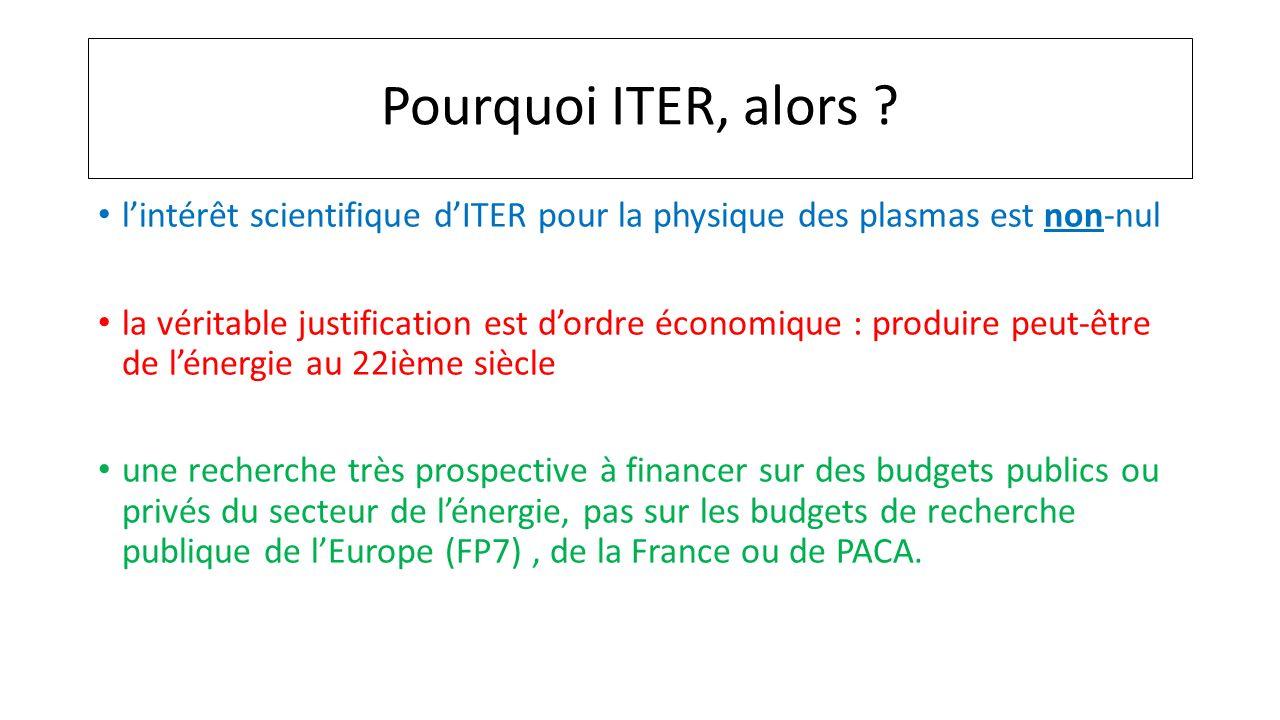 Pourquoi ITER, alors ? lintérêt scientifique dITER pour la physique des plasmas est non-nul la véritable justification est dordre économique : produir