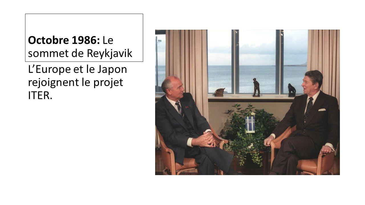 Octobre 1986: Le sommet de Reykjavik LEurope et le Japon rejoignent le projet ITER.