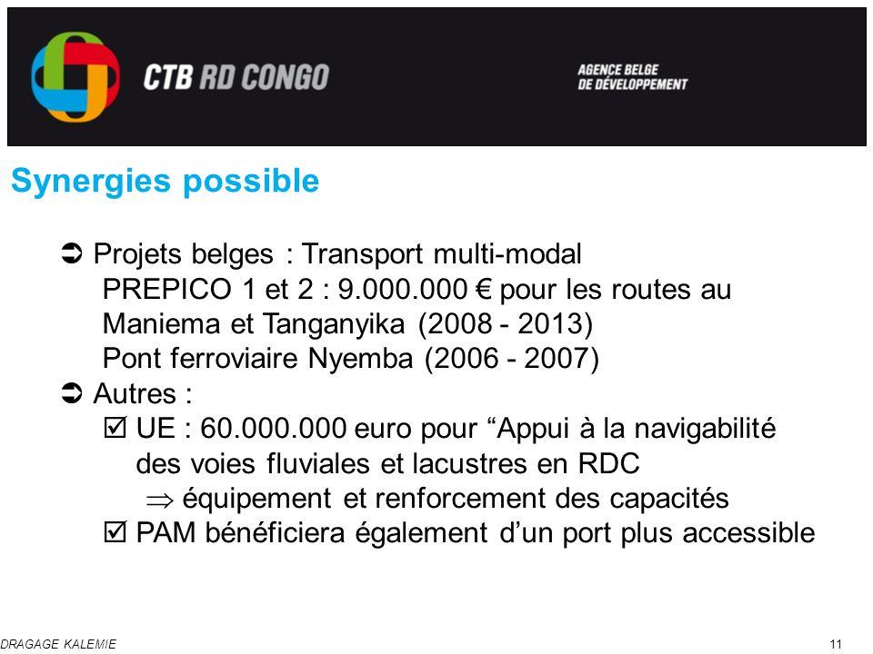 DRAGAGE KALEMIE11 Synergies possible Projets belges : Transport multi-modal PREPICO 1 et 2 : 9.000.000 pour les routes au Maniema et Tanganyika (2008