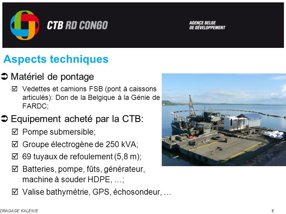 DRAGAGE KALEMIE8 Aspects techniques Matériel de pontage Vedettes et camions FSB (pont à caissons articulés): Don de la Belgique à la Génie de FARDC; E