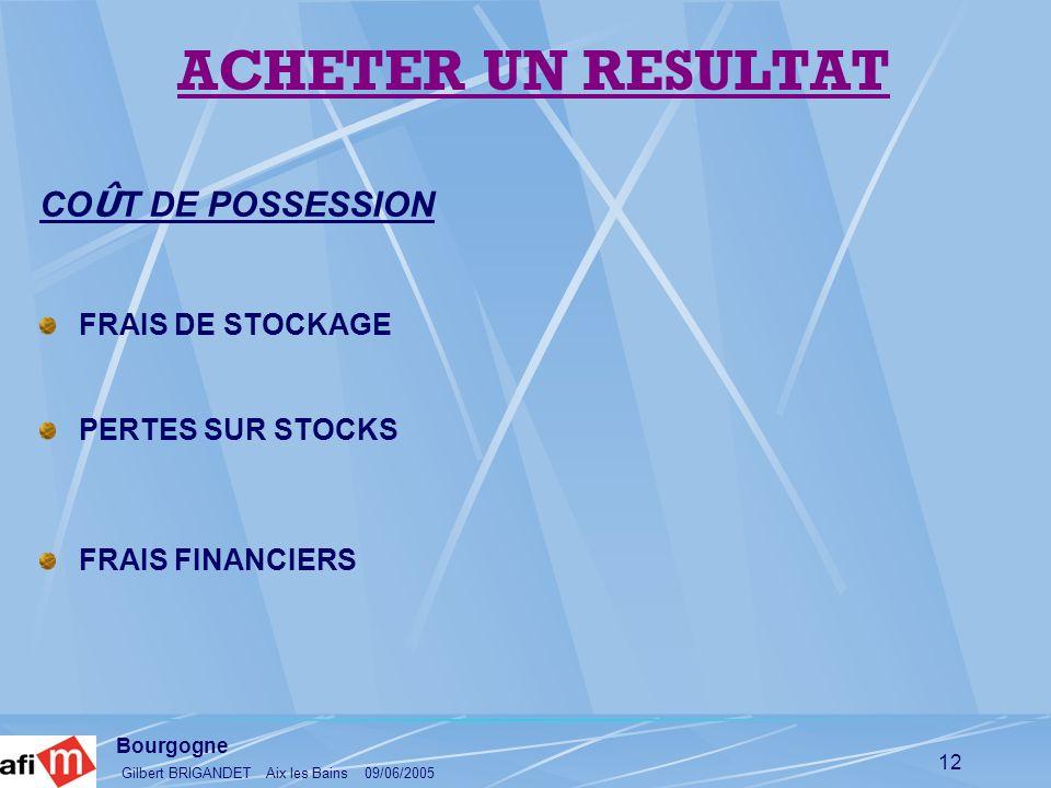 Bourgogne Gilbert BRIGANDET Aix les Bains 09/06/2005 12 CO Û T DE POSSESSION FRAIS DE STOCKAGE PERTES SUR STOCKS FRAIS FINANCIERS ACHETER UN RESULTAT