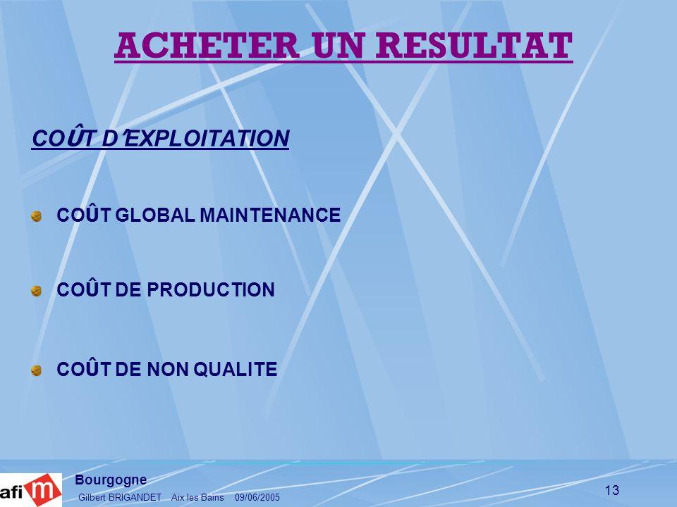 Bourgogne Gilbert BRIGANDET Aix les Bains 09/06/2005 13 CO Û T D EXPLOITATION CO Û T GLOBAL MAINTENANCE CO Û T DE PRODUCTION CO Û T DE NON QUALITE ACH