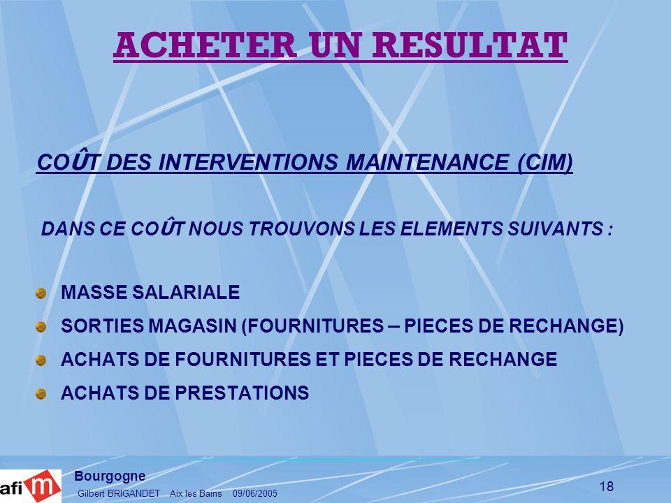 Bourgogne Gilbert BRIGANDET Aix les Bains 09/06/2005 18 CO Û T DES INTERVENTIONS MAINTENANCE (CIM) DANS CE CO Û T NOUS TROUVONS LES ELEMENTS SUIVANTS