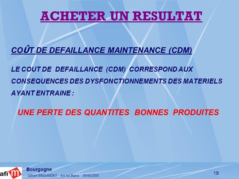 Bourgogne Gilbert BRIGANDET Aix les Bains 09/06/2005 19 CO Û T DE DEFAILLANCE MAINTENANCE (CDM) LE COUT DE DEFAILLANCE (CDM) CORRESPOND AUX CONSEQUENC