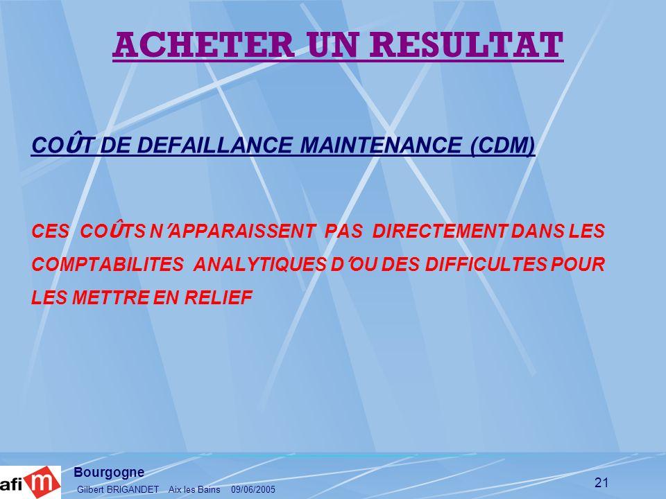 Bourgogne Gilbert BRIGANDET Aix les Bains 09/06/2005 21 CO Û T DE DEFAILLANCE MAINTENANCE (CDM) CES CO Û TS N APPARAISSENT PAS DIRECTEMENT DANS LES CO