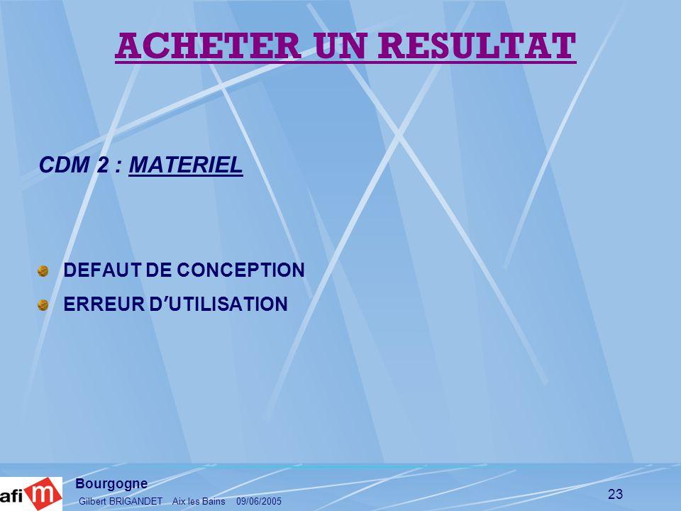 Bourgogne Gilbert BRIGANDET Aix les Bains 09/06/2005 23 CDM 2 : MATERIEL DEFAUT DE CONCEPTION ERREUR D UTILISATION ACHETER UN RESULTAT