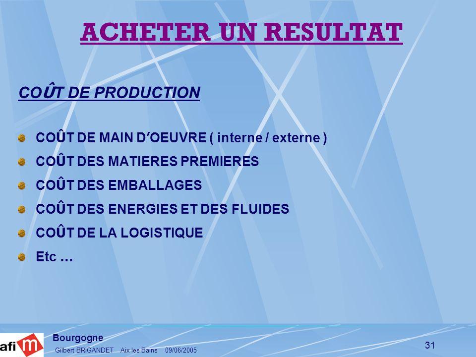 Bourgogne Gilbert BRIGANDET Aix les Bains 09/06/2005 31 CO Û T DE PRODUCTION CO Û T DE MAIN D OEUVRE ( interne / externe ) CO Û T DES MATIERES PREMIER