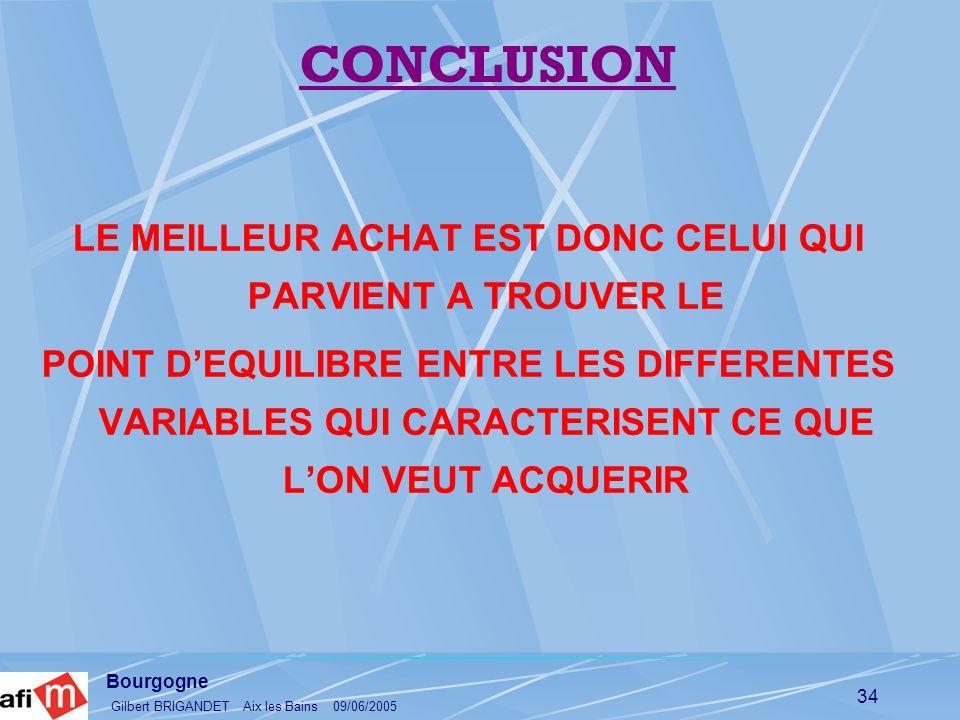Bourgogne Gilbert BRIGANDET Aix les Bains 09/06/2005 34 LE MEILLEUR ACHAT EST DONC CELUI QUI PARVIENT A TROUVER LE POINT DEQUILIBRE ENTRE LES DIFFEREN