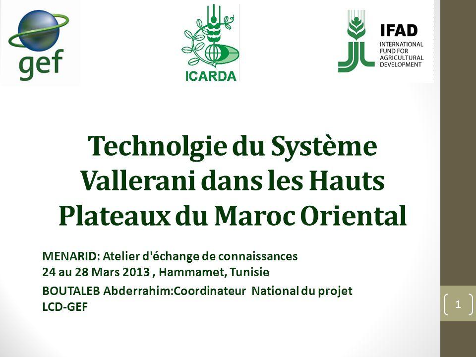 Technolgie du Système Vallerani dans les Hauts Plateaux du Maroc Oriental MENARID: Atelier d'échange de connaissances 24 au 28 Mars 2013, Hammamet, Tu