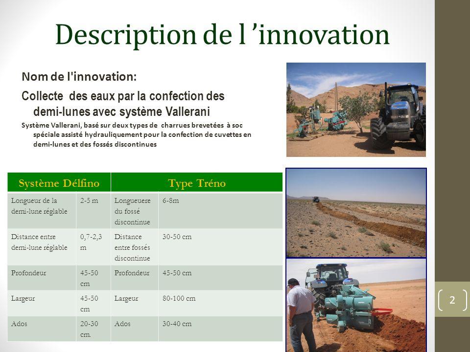 Description de l innovation Nom de l'innovation: Collecte des eaux par la confection des demi-lunes avec système Vallerani Système Vallerani, basé sur