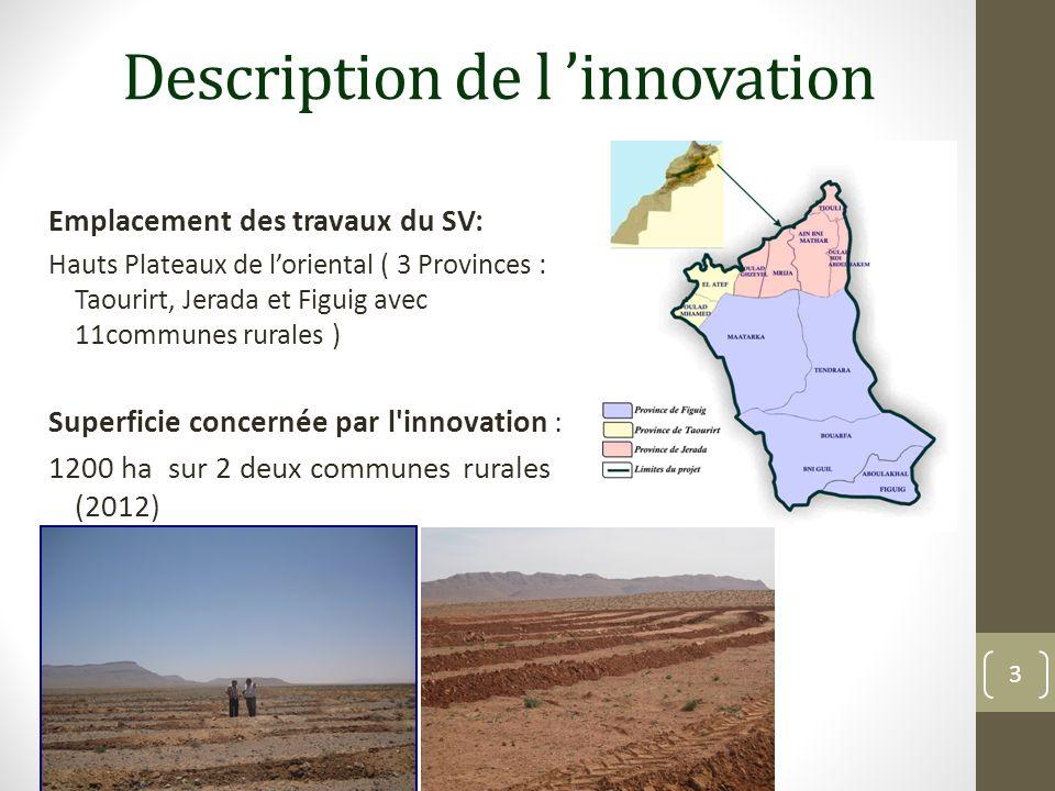 Description de l innovation Emplacement des travaux du SV: Hauts Plateaux de loriental ( 3 Provinces : Taourirt, Jerada et Figuig avec 11communes rura