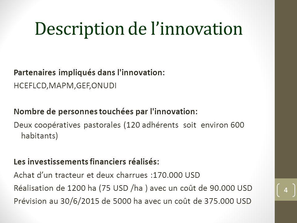 Description de linnovation Partenaires impliqués dans l'innovation: HCEFLCD,MAPM,GEF,ONUDI Nombre de personnes touchées par l'innovation: Deux coopéra