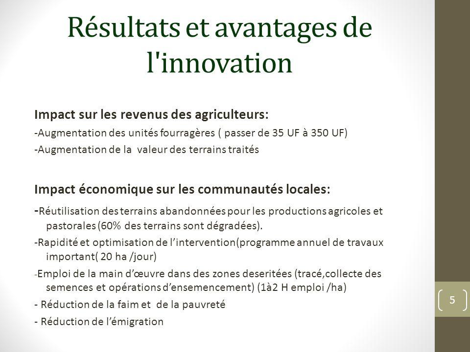 Résultats et avantages de l'innovation Impact sur les revenus des agriculteurs: -Augmentation des unités fourragères ( passer de 35 UF à 350 UF) -Augm
