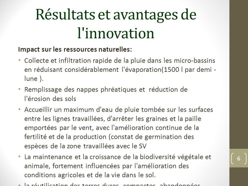 Résultats et avantages de l'innovation Impact sur les ressources naturelles: Collecte et infiltration rapide de la pluie dans les micro-bassins en réd