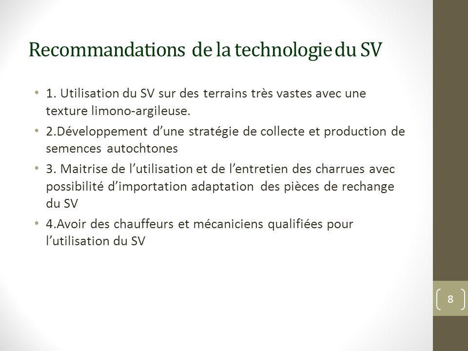 Recommandations de la technologie du SV 1. Utilisation du SV sur des terrains très vastes avec une texture limono-argileuse. 2.Développement dune stra