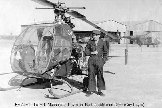 EA ALAT - Le MdL Mécanicien Peyro en 1958, à côté dun Djinn (Guy Peyro)
