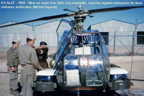 EA ALAT - 1958 - Mise en route dun Djinn à la manivelle, sous les regards intéressés de deux militaires américains (Michel Dupont)