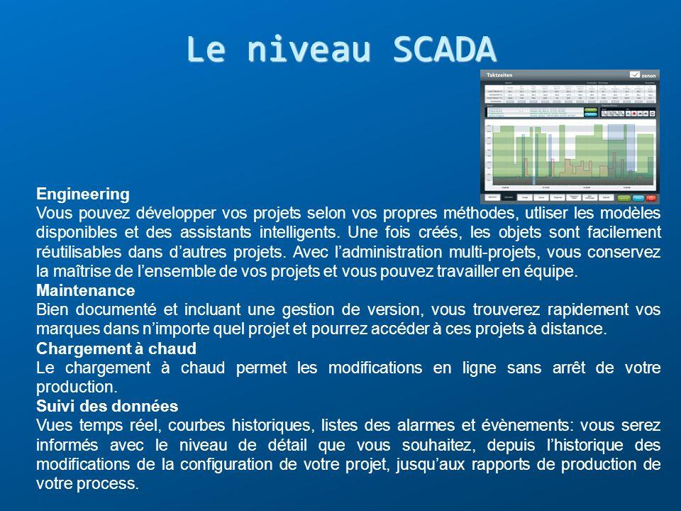 Le niveau SCADA Engineering Vous pouvez développer vos projets selon vos propres méthodes, utliser les modèles disponibles et des assistants intellige