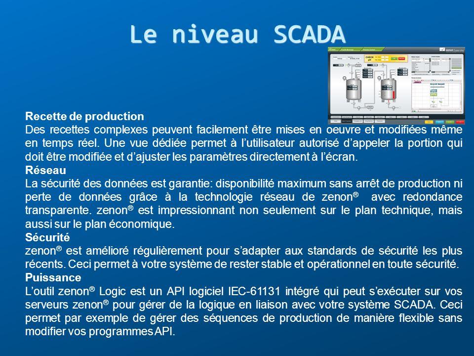 Le niveau SCADA Recette de production Des recettes complexes peuvent facilement être mises en oeuvre et modifiées même en temps réel. Une vue dédiée p