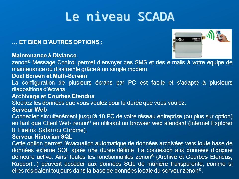 Le niveau SCADA … ET BIEN DAUTRES OPTIONS : Maintenance à Distance zenon ® Message Control permet denvoyer des SMS et des e-mails à votre équipe de ma