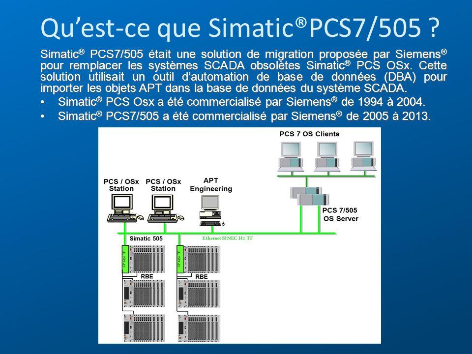 Quest-ce que Simatic®PCS7/505 ? Simatic ® PCS7/505 était une solution de migration proposée par Siemens ® pour remplacer les systèmes SCADA obsolètes