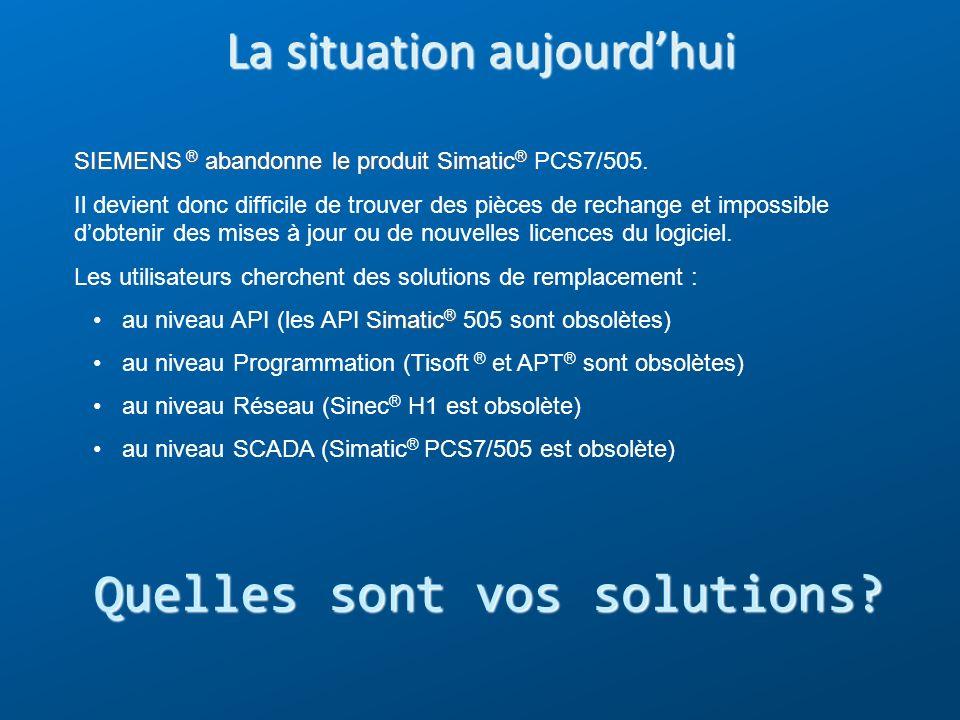 La situation aujourdhui SIEMENS ® abandonne le produit Simatic ® SIEMENS ® abandonne le produit Simatic ® PCS7/505. Il devient donc difficile de trouv
