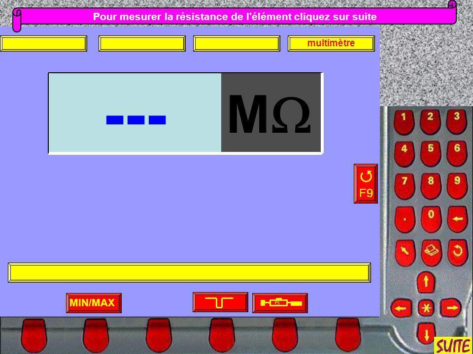 Pour mesurer la résistance de l'élément cliquez sur suite MIN/MAX F9 F5 multimètre M ---
