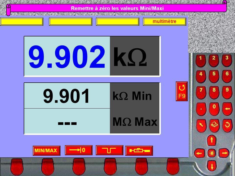 Remettre à zéro les valeurs Mini/Maxi MIN/MAX F5 F9 0 multimètre k 9.902 M Max --- k Min 9.901
