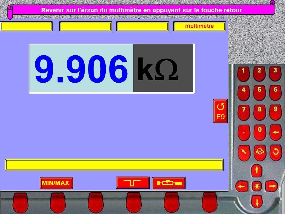 Revenir sur l'écran du multimètre en appuyant sur la touche retour MIN/MAX F5 F9 multimètre k 9.906