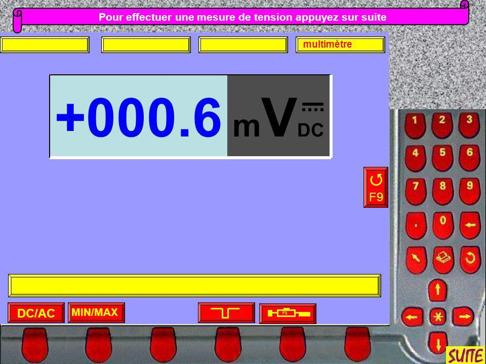 Pour effectuer une mesure de tension appuyez sur suite MIN/MAX F5 DC/AC multimètre F9 m V DC +000.6