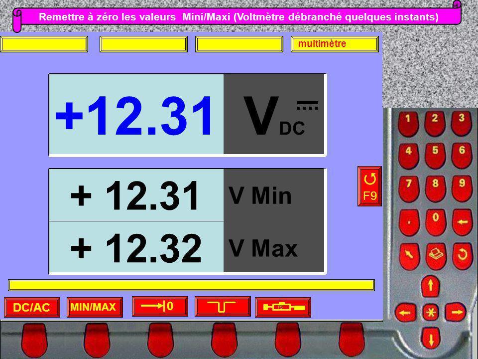 Remettre à zéro les valeurs Mini/Maxi (Voltmètre débranché quelques instants) MIN/MAX F5 F9 0 DC/AC multimètre V DC +12.31 V Max + 12.32 V Min + 12.31