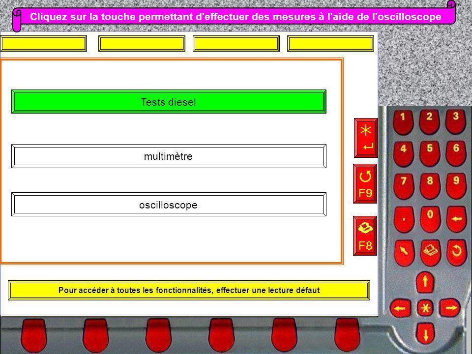 Pour accéder à toutes les fonctionnalités, effectuer une lecture défaut oscilloscope multimètre Tests diesel Cliquez sur la touche permettant d'effect