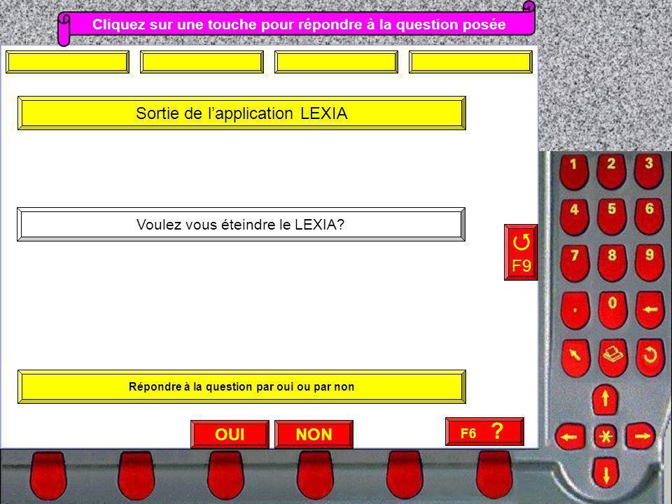 NON F9 Voulez vous éteindre le LEXIA? OUI Cliquez sur une touche pour répondre à la question posée Sortie de lapplication LEXIA Répondre à la question