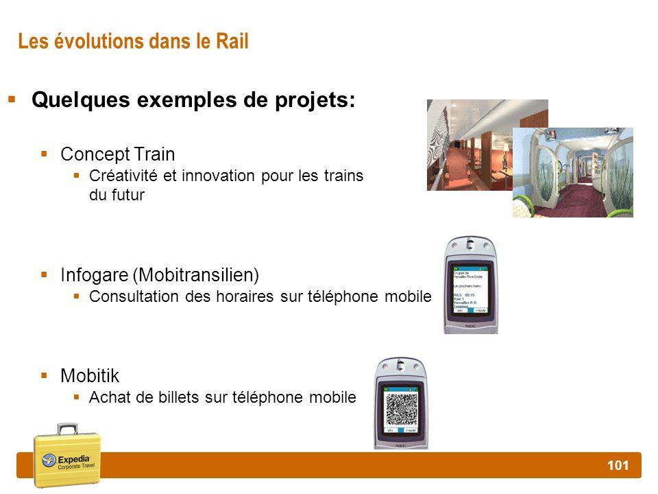 101 Les évolutions dans le Rail Quelques exemples de projets: Concept Train Créativité et innovation pour les trains du futur Infogare (Mobitransilien