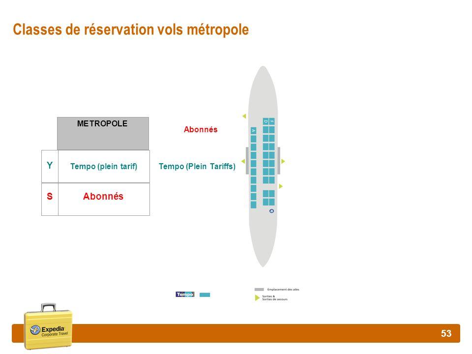 53 Classes de réservation vols métropole METROPOLE Y Tempo (plein tarif) SAbonnés Tempo (Plein Tariffs) Abonnés