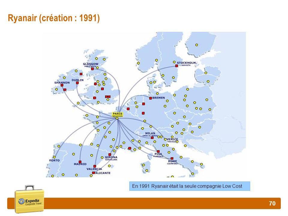 70 Ryanair (création : 1991) En 1991 Ryanair était la seule compagnie Low Cost