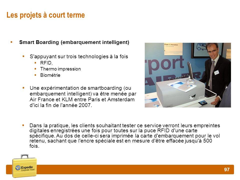 97 Les projets à court terme Smart Boarding (embarquement intelligent) S'appuyant sur trois technologies à la fois RFID, Thermo impression Biométrie U